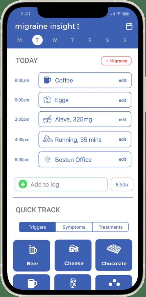 migraine app log screen