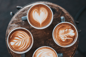 lattes with latte art