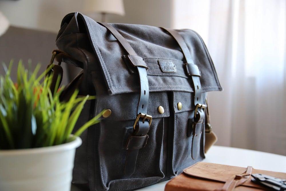 leather bag on desk